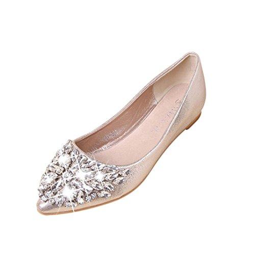 Ohq ballerine eleganti donna women's ballerinas women's pointed toe ladise shoes casual rhinestone low heel flat shoes slip-on flat shoses (38, oro)