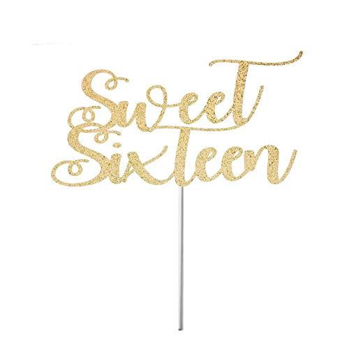 , Happy Sweet 16, Birthday Cake Topper, Sweet Sixteen, 16. Geburtstag, Party, Sweet 16 Party Dekorationen, Sweet 16 Gold ()