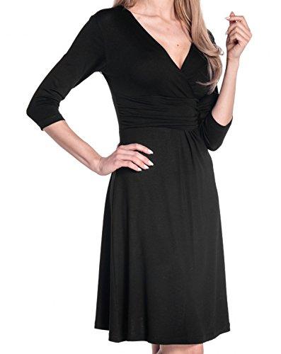 Glamour Empire Donna Abito a Manica 3/4 Estivo Vestito Molto Femminile 282 Nero