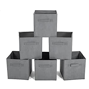 GEMITTOPackof6Non-WovenFabricDrawerBinsStorageCubes BasketOrganiserBoxwith2Handles Light Grey