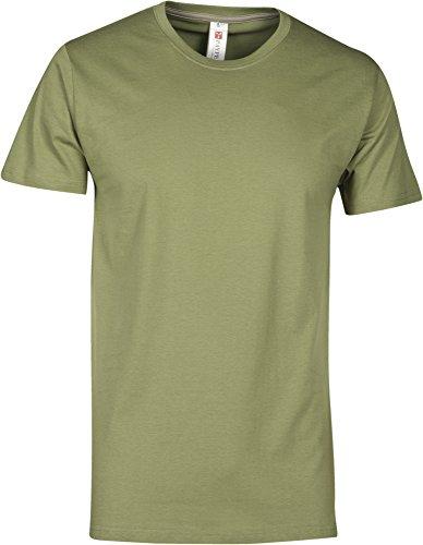 T-Shirt Da Lavoro Maglietta Manica Corta Girocollo 100% Cotone Payper Sunset, Colore: Verde Army, Taglia: XS