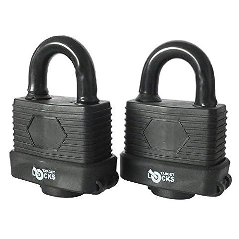 Pack of 2 Target 50mm Heavy Duty Waterproof Weatherproof Padlock - Fully Coated - 3 High Security Keys Per Lock (Normal Shackle)