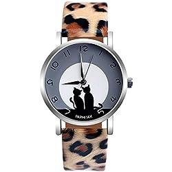 DressLksnf Reloj de GatoLujo Moda de Mujer Pulsera Deportiva Acero Inoxidable Durable Correa de Cuero Digital Clásico Banda de Reloj Cadena Superficie de Estampado Gato Ajuste Elegante Aguja Dorada
