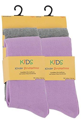 VCA 4er Set Kinder Strumpfhosen, Baumwolle, Mädchen und Jungen Strumpfhose (Öko-Tex Standard 100 Zertifiziert) Gr. 122/128