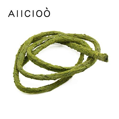 AIICIOO Reptil Jungle Reben Dekoration für Chamäleon / Schlange / Frösche Terrarium Forest Branch Grün Wasserdicht und Feuchtigkeitsfest -150cm