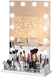 LUXFURNI Vanity Table Makeup Hollywood Mirror Dimmable Light Touch Control 12 cold/Warm LED Lights, Makeup Org
