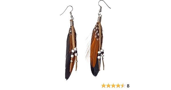 Pocahontas Ohrstecker Feder-Ohrringe Indianerin Boho Ethno Ohrhänger Ohrschmuck