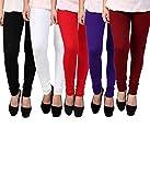 K's Creations Women's Cotton Lycra Churidar Leggings, Free Size (UMLEG022, Multicolour) - Pack of 5