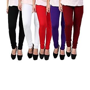 K's Creations Women's Cotton Lycra Churidar Leggings (UMLEG055, Multicolour, Free Size)- Pack of 5