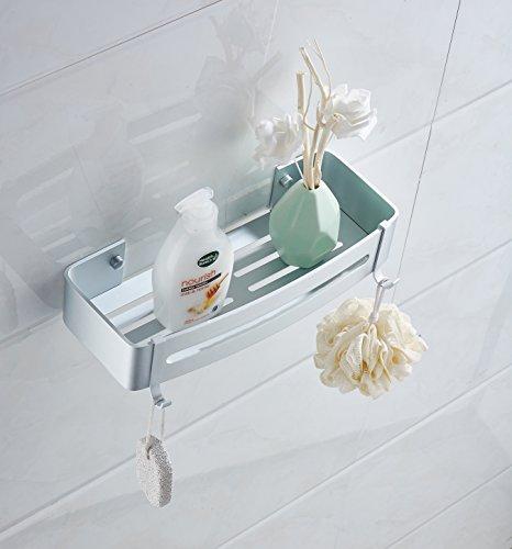 Mensola da parete per bagno, in alluminio, con cestino e ganci, 715, metallo, quadrato