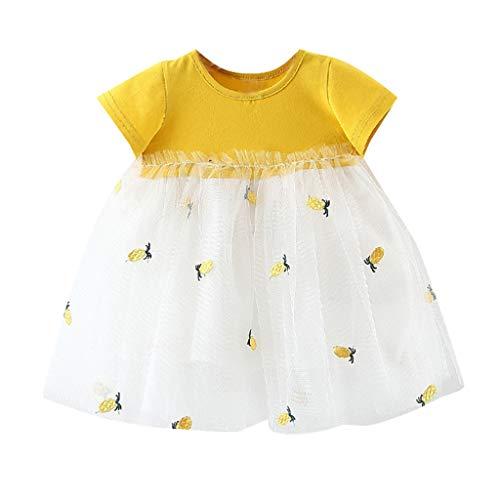 Frashing Neugeborene Kinder Baby Mädchen Stickerei Tüll Patchwork Tutu Prinzessin Party Dress Ananas Flauschiger Rock Kleid Party Casual ()