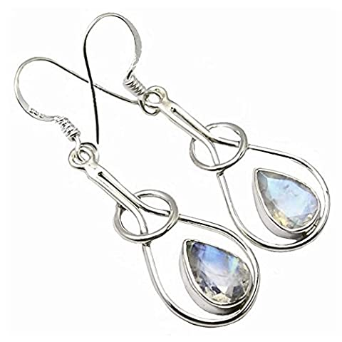 Unique Rainbow Moonstone Drop Earrings 925 Sterling Silver 3.4 Carat Jeweller's Quality