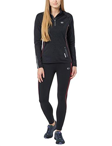 Ultrasport Damen Laufhose gefüttert mit Quick-Dry-Funktion lang, black red, M, 380100000210 - 7