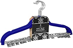 Signature Home Velvet Skirt/Pant Hangers with Metal Clips (Set of 6), Navy