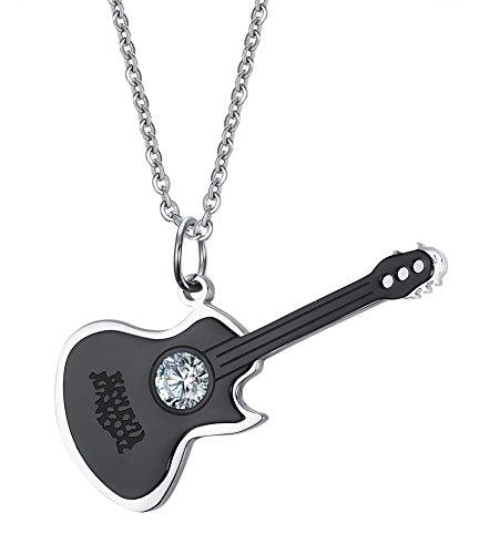 Lekima Bijoux Collier Pendentif Guitare Musique Zircon Chaîne Acier Inoxydable Fantaisie Homme Femme Cadeau Noir