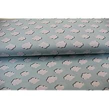 Los niños de la tela/se vende por metros/25cm unidad calidad de/Jersey/blanco nubes de luz azul