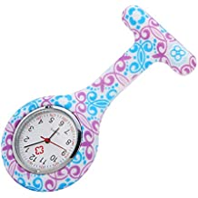Meisijia Unisex Doctor Enfermera Flor Silicona Cubierta Broche Colgante Pocket Fob Reloj