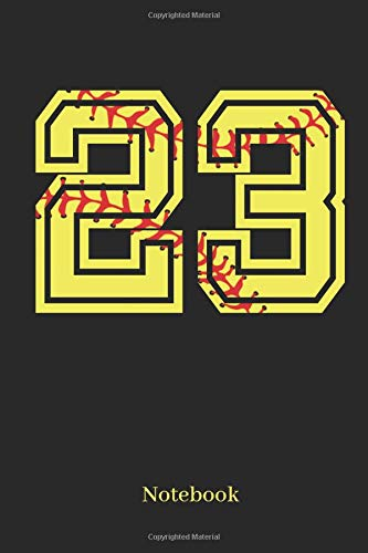 23 Notebook: Softball Player Jersey Number 23 Sports Blank Notebook Journal Diary For Quotes And Notes - 110 Lined Pages