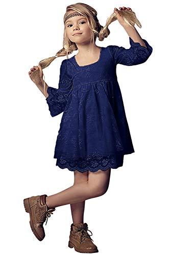 Babyonlinedress® Süß Festlich Mädchen Kleid für Kinder Prinzessin Spitzen Kleider Hochzeit Blumenmädchenkleid Mit Ärmel Navyblau 6~7 Jahre