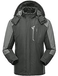 1fff34ef7d01 Oyedens Herren Übergangsjacke Herrenjacke Jacke gefüttert mit Kapuze Langer  Mantel und Samtjacke für Männer