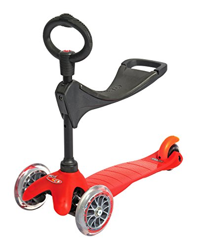 3 in 1 Red Mini Micro 3 Wheeled Scooter Adjustable Ride On with Seat and O Handle Bar for Girls Boys Kids Children