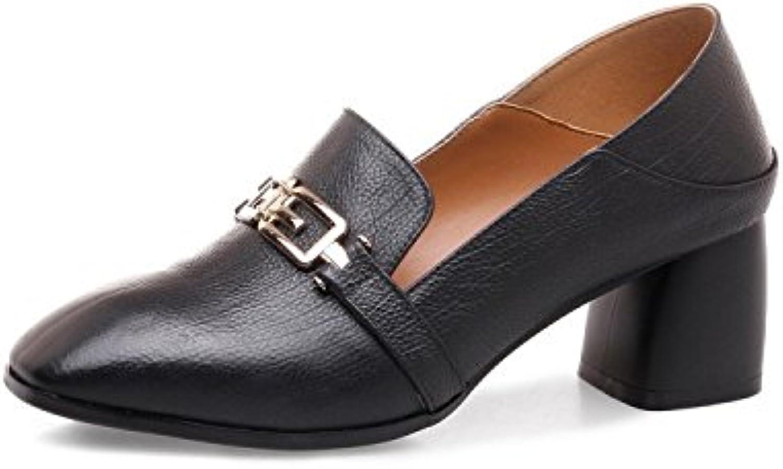 Frauenschuhe mit Tiefem Mund Weiche Damenschuhe mit Dicken Stöckelschuhen Quadratischer Metallkopf Wilde Mode