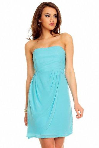 Bandeau Kleid Chiffon Ballkleid Abendkleid Cocktailkleid Festkleid Chiffonkleid M (36) Aqua