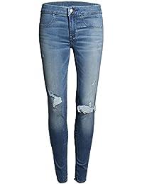 Blansdi Damen Mädchen Frauen Frühling Herbst strecken Taille Distressed Ripped Gewaschene BF Jeans Boyfriend Lose Denim dünn Lange Hose Loch Jeanshose Bleistift Jeans