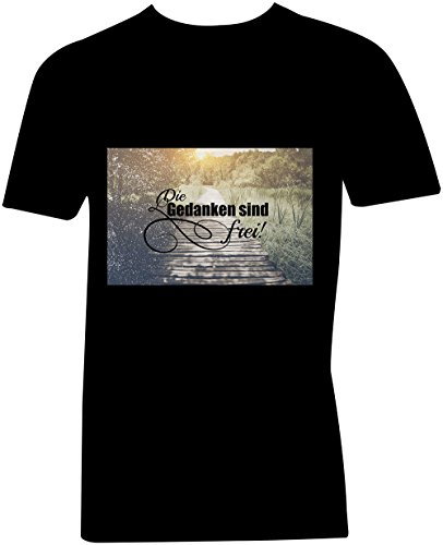 Die Gedanken Sind Frei 4 ★ V-Neck T-Shirt Männer-Herren ★ hochwertig bedruckt mit lustigem Spruch ★ Die perfekte Geschenk-Idee (01) schwarz