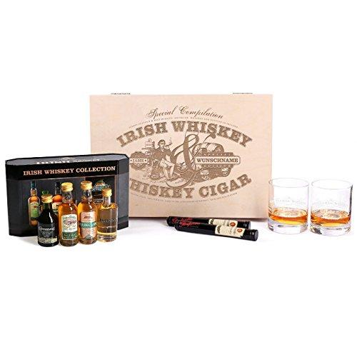 Herz & Heim® 9tlg.Cooleys Irish Whiskey Collection Geschenkset mit gravierten Gläsern u. Zigarren für echte Männer - 2 Irish Die Vol Collection
