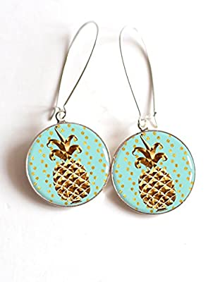 Boucles d'oreilles cabochon Ananas doré et fond turquoise