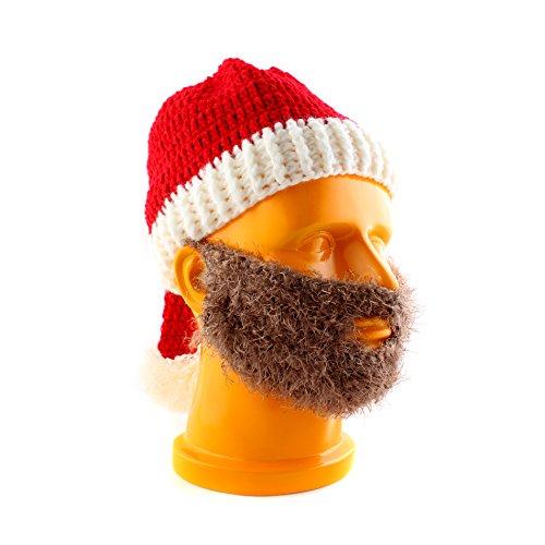 SYMTOP Weihnachtsmann Santa Claus Nikolaus Kostüm Mütze + Bart (Braun Bart Kostüm)