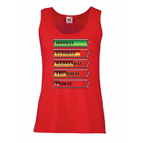 Serbatoio,Maglietta senza maniche femminile Calendario settimanale di allenamento Rosso Multicolore