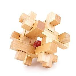 Isuper IQ Giocattolo Kongming Lock Wooden Interlocking 3D Jigsaw Puzzle Rompicapo Regalo per Bambini e Adulti (Take out Red Ball)
