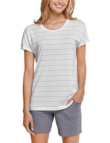 Schiesser Mix & Relax Shirt 1/4 Arm, Haut de Pyjama Femme Blanc (100)