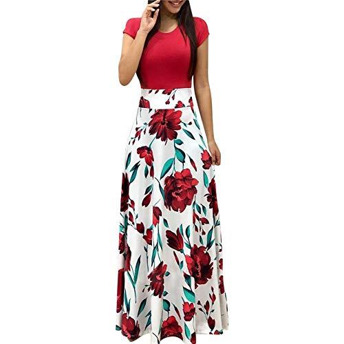 Maxi Kleid Damen Blumen Lange Kleid Elegant Boho Kurzarm Maxikleid Casual High Waist Böhmischen...
