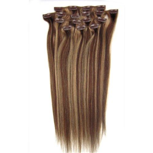 100% cheveux remy Lot de 8 50,8 cm Brun/Blond (# 4/27) droites cheveux clip dans Extension de cheveux Poids : 100 g