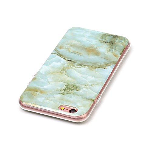 "MOONCASE Ultra-mince Motif Marbre Naturel Blanc Rayure TPU Silicone Housse Coque Etui Gel Case Cover Pour iPhone 6 / iPhone 6S 4.7"" Vert"