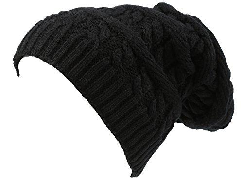 sakkas-16149-figaro-long-tall-classique-cable-knit-doublees-de-fausse-fourrure-unisexe-bonnet-noir-o