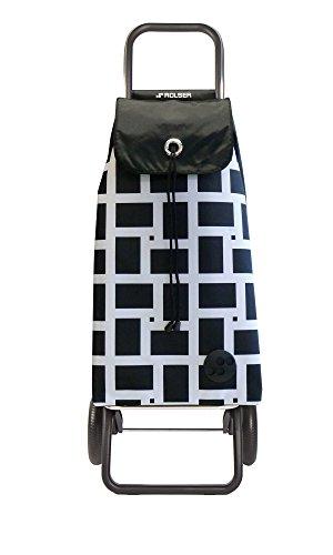 ROLSER Einkaufsroller RG / GEOMETRIK, IMX025, 41 x 32,5 x 104 cm, 43 Liter, 50 kg Tragkraft, schwarz/weiss