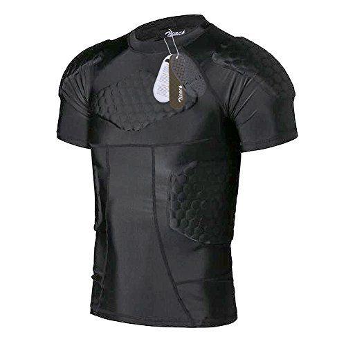 Zicac Sports Gepolsterte Kompression Tops Kurzarm Shock Guard Schutzhemd Schulter Rippe Brustschutz für Outdoor Fußball Basketball Paintball Rugby
