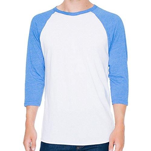 American Apparel Herren Langarmshirt White/Heather Lake Blue