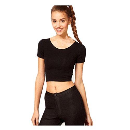Shirt Schwarz Damen Kurzarm, Ulanda Clearance Sale Teenager Mädchen Bauchfrei Sport Crop Top T-Shirt Basic Hemd Oberteile Tops Bluse (Schwarz)