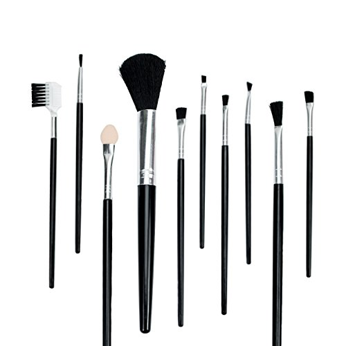 MyStyle Brush 10pcs Professional makeup Brushes and Blending Set For Foundation Eyebrows and cheeks Blush Cosmetic Concealer (Colours May Vary White/ Black)
