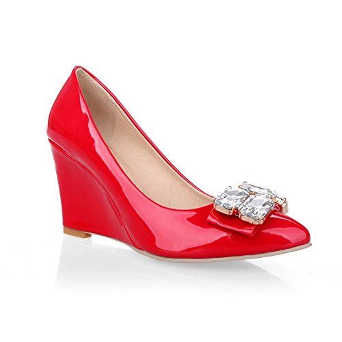1TO9 Girls Pull-On vetro diamante banchetto gomma pumps-shoes Red