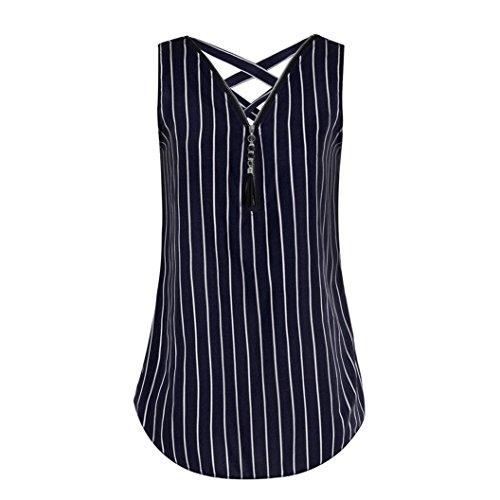 VEMOW Sommer Damen Mädchen Frauen Tägliche Beiläufige Art und Weise Lose Sleeveless Trägershirt Kreuz Zurück Saum Layed Zipper V-Ausschnitt T-Shirts Tops Pullover(X2Dunkelblau, EU-52/CN-5XL) - Offene U-boot-ausschnitt