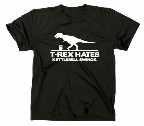 T Rex Hates Kettlebell Swings Fun Maglietta, Unisex adulto, Black, M
