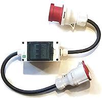 CEE Starkstrom Adapter Stecker und Steckdose 32A / 16A 5x2,5mm (32A auf 16A Standard 231201/S) mit 3 Sicherungen je 16 A
