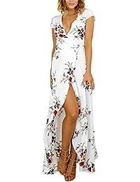 Robes Femme Manche Courte Fleur Imprimée Ethniques D'Été Chic Moulantes Robes Longues Boheme Robes De Plage