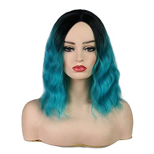 JAFA Fashion Kurz Wellenförmige Haarteile Damen Natürliche Wig Haar Cosplay Gewellte Perücke Stilvoll Volle Perücken Kleine Lockige Dark Roots Wig Haar